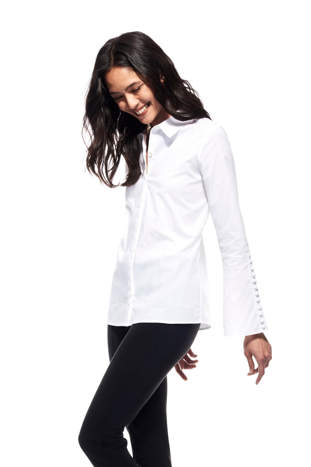 Ecru Bell Sleeve Shirt - Side Cropped Image