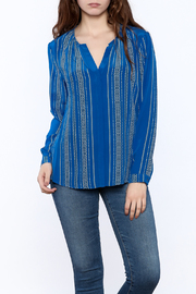 Ecru Santorini Blue Blouse - Product Mini Image