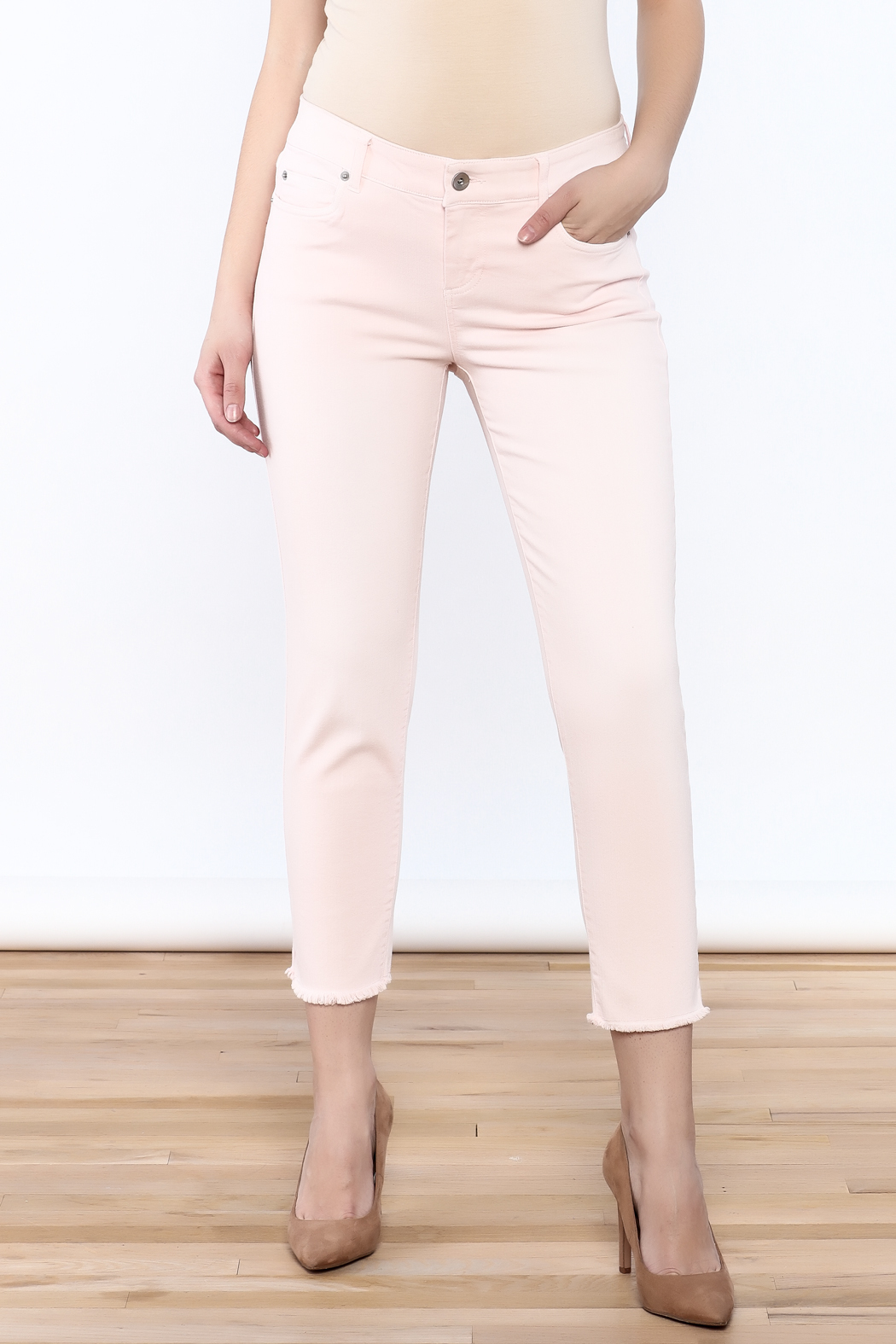Ecru Cropped Pink Skinny - Front Cropped Image