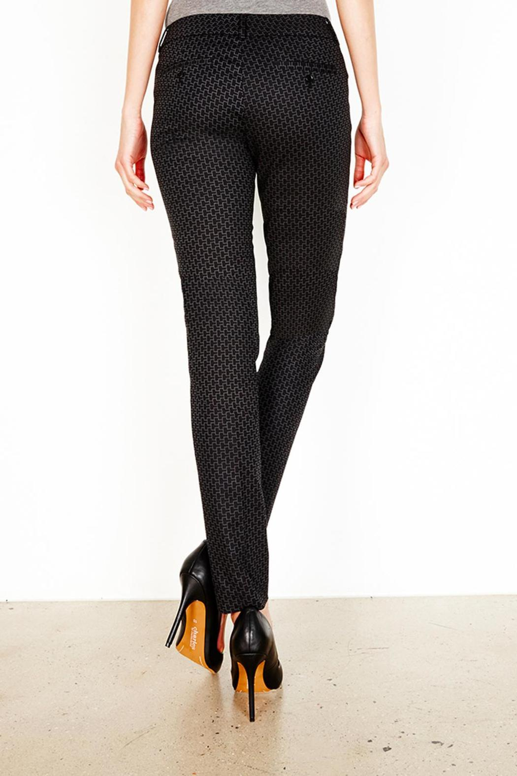Ecru Del Rey Geo Print Pant From Guilford By Tracy Brent Collections Pants Black Side Cropped Image