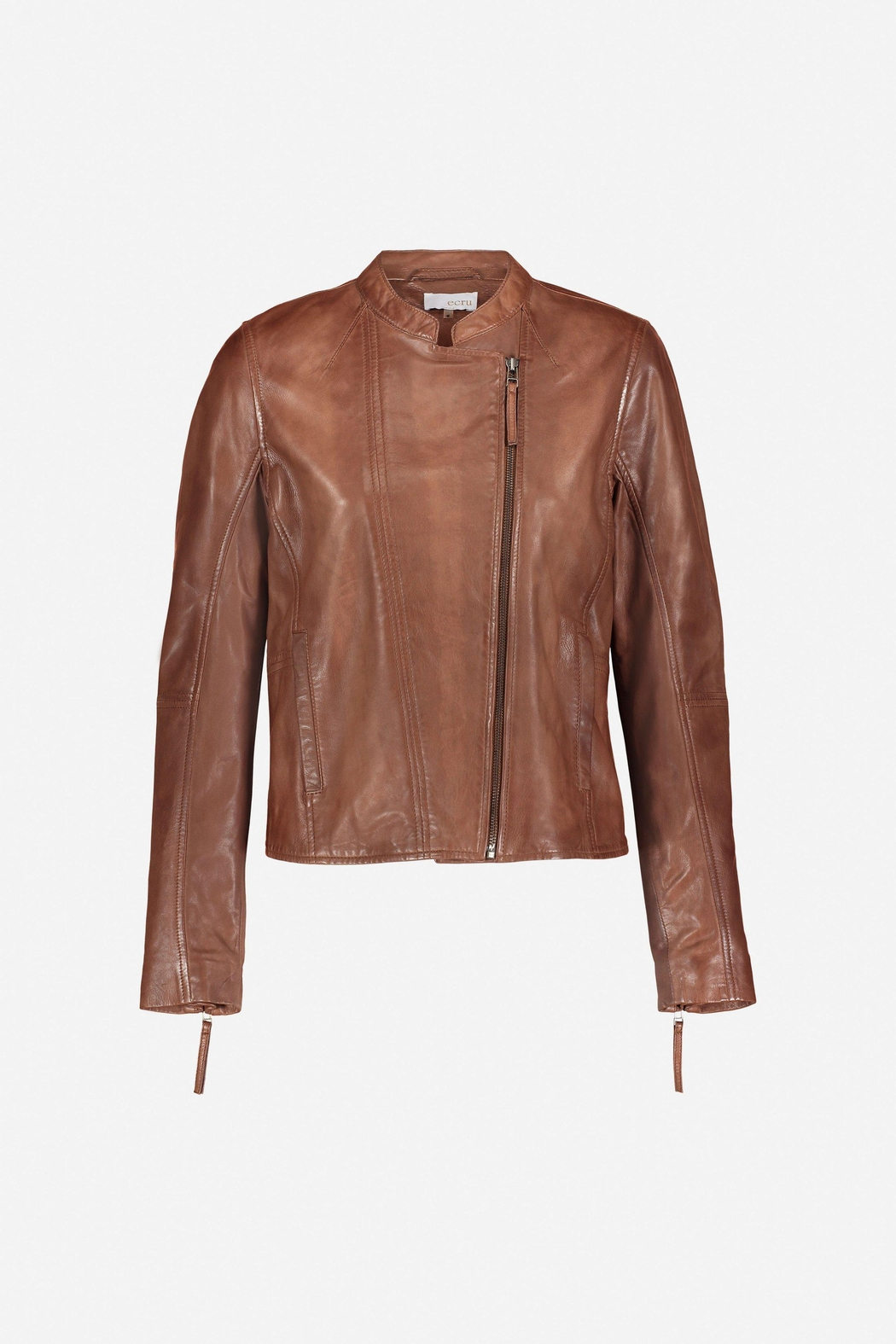 Ecru Distressed Leather Jacket - Side Cropped Image