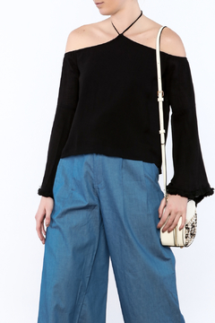 Ecru Frayed Bell Sleeve Top - Product List Image