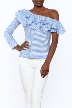 Shoptiques Product: Stripe Ruffle Top