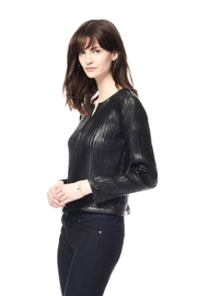 Ecru Leather Strip Jacket - Front full body