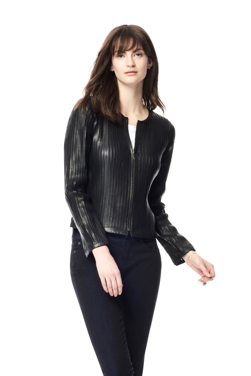 Ecru Leather Strip Jacket - Front Cropped Image