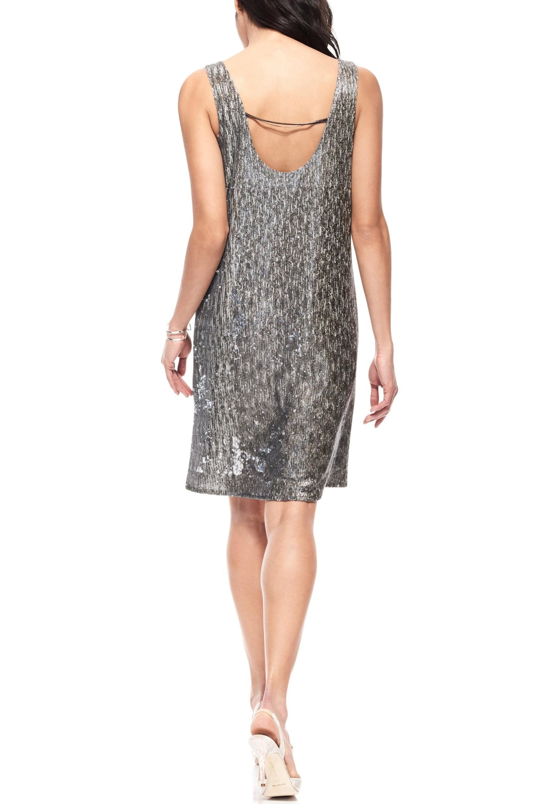 Ecru Sequin Dress - Front Full Image