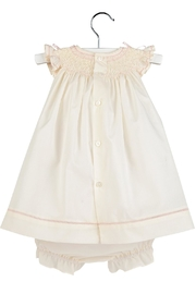 Luli & Me Ecru Smocked-Dress & Bloomer-Set - Side cropped