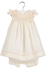 Luli & Me Ecru Smocked-Dress & Bloomer-Set - Front cropped