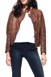 Ecru Washed Leather Jacket - Product Mini Image