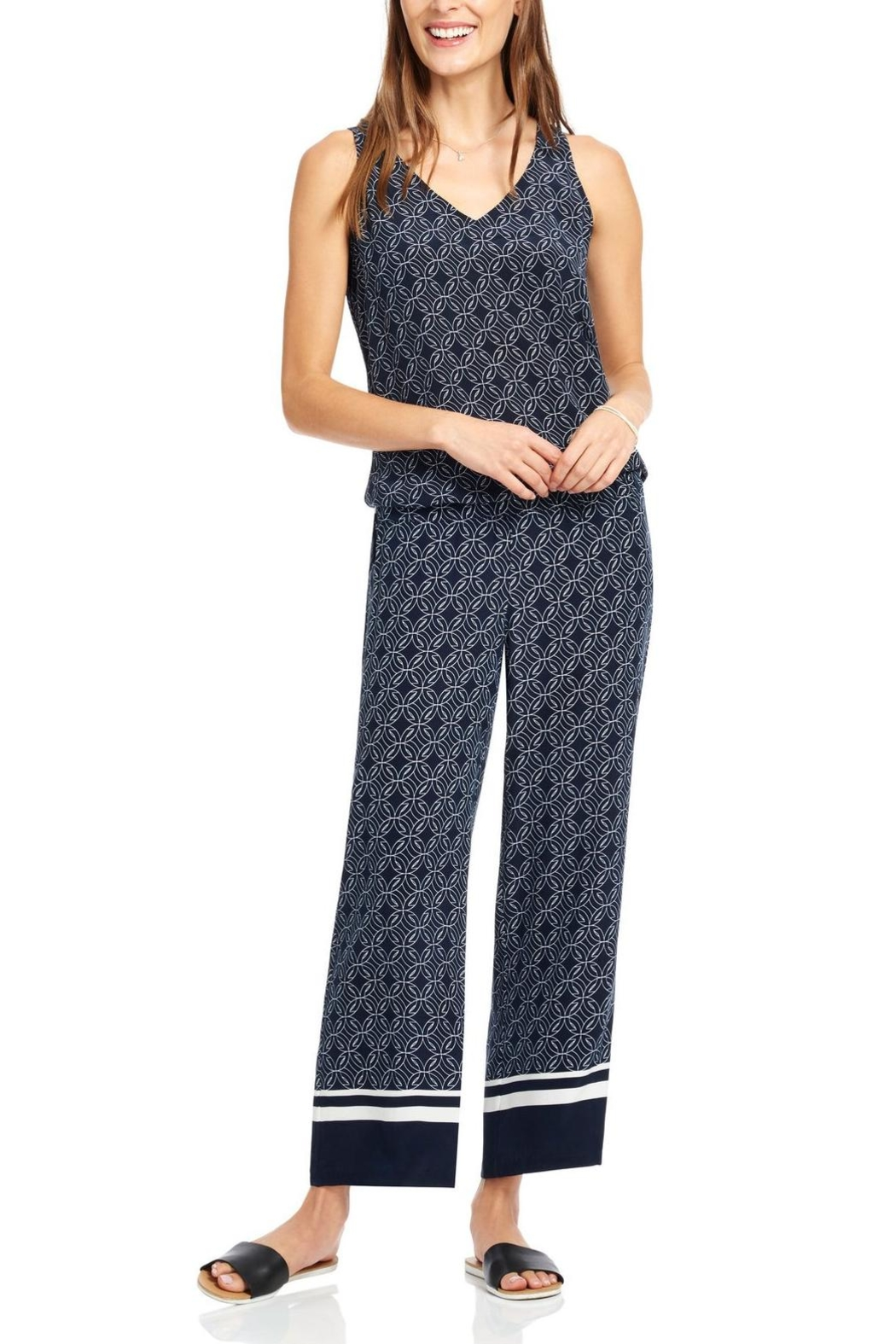 Ecru Wide Leg Pant - Front Cropped Image