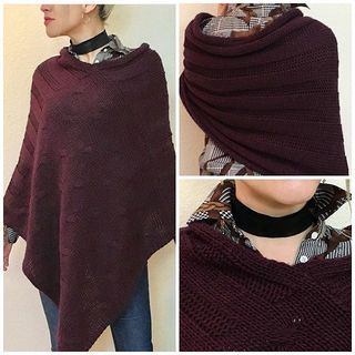Shoptiques Product: Burgundy Knit Poncho