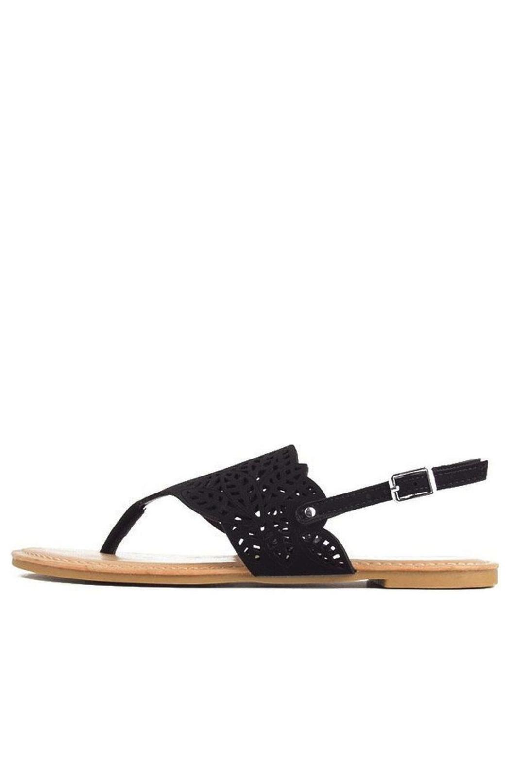 Bamboo Cut-Out Ankle-Strap Flat-Sandal - Main Image