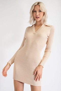 EDIT BY NINE Collared Mini Sweater Dress - Product List Image
