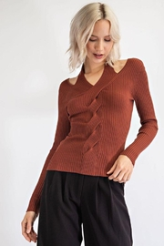 EDIT BY NINE Longsleeve Cable Knit Halter Top - Product Mini Image