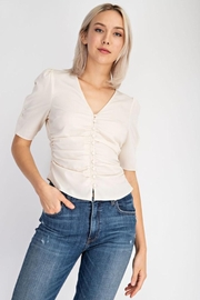 EDIT BY NINE Ruched Button Up Top - Product Mini Image