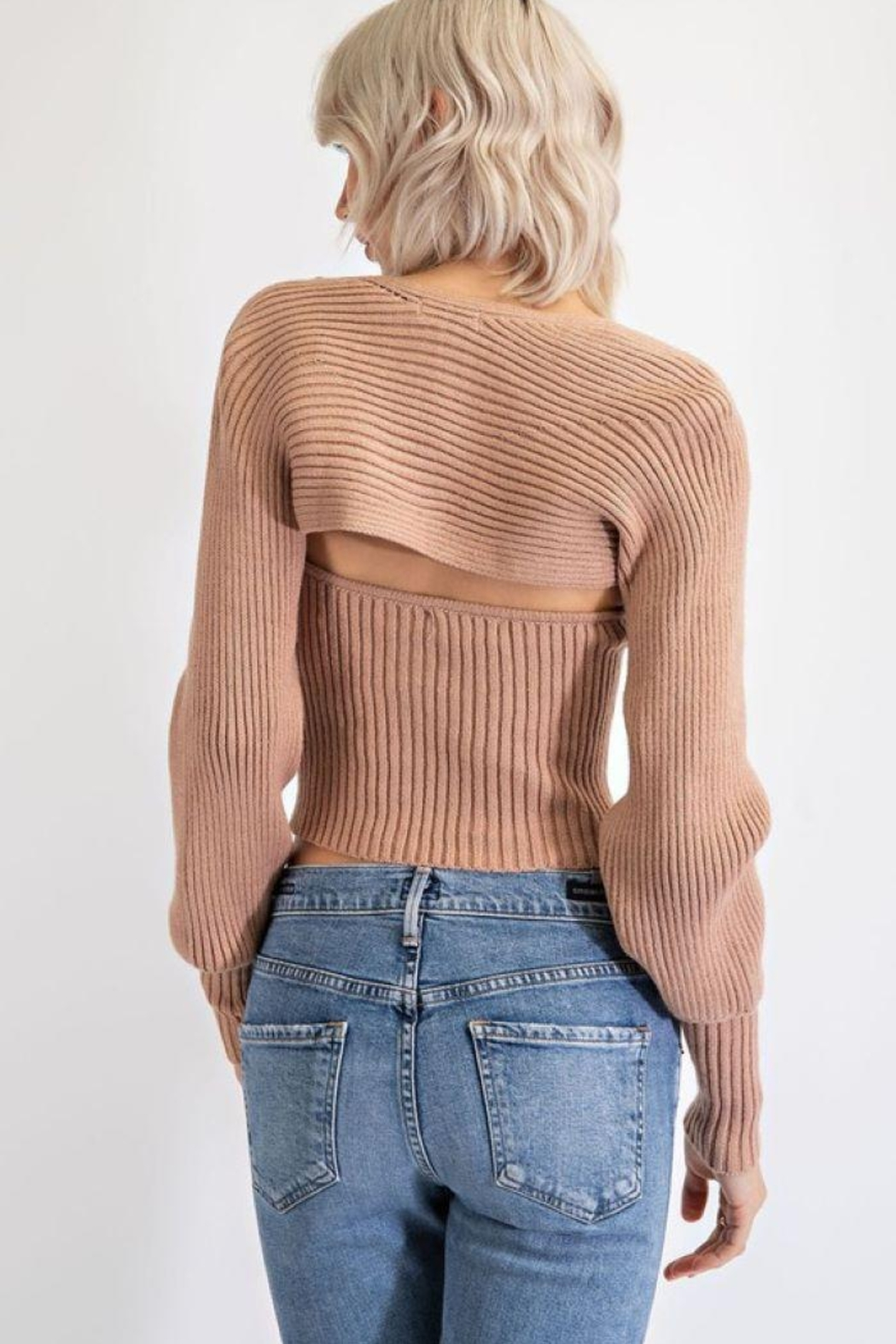EDIT BY NINE Strapless Tube Top With Bolero Pullover - Back Cropped Image