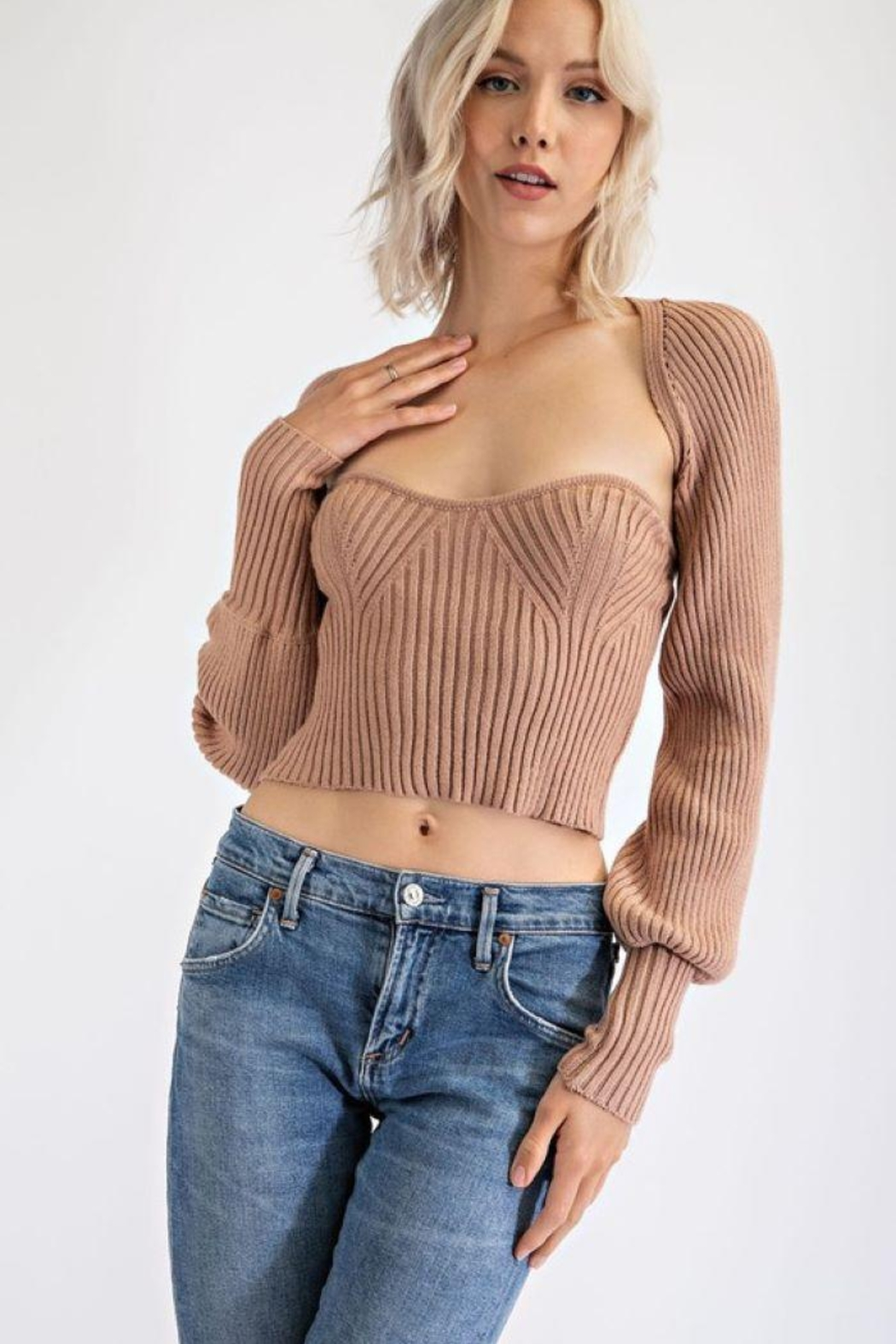 EDIT BY NINE Strapless Tube Top With Bolero Pullover - Front Cropped Image
