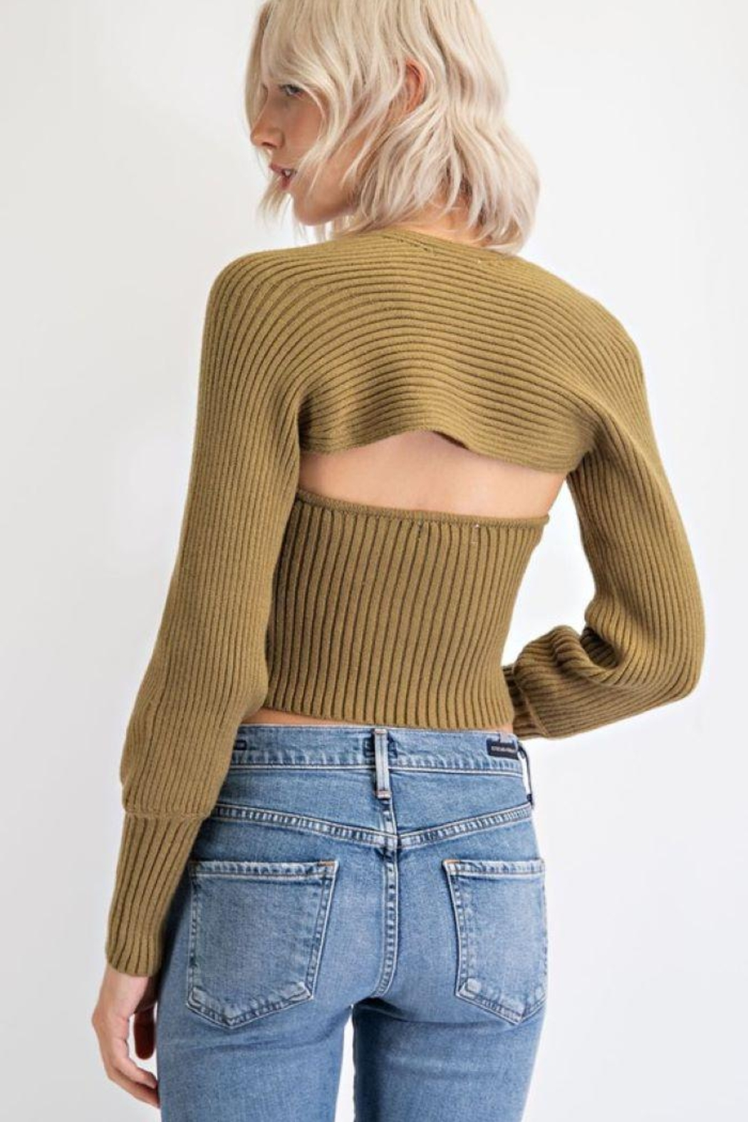 EDIT BY NINE Strapless Tube Top With Bolero Pullover - Side Cropped Image