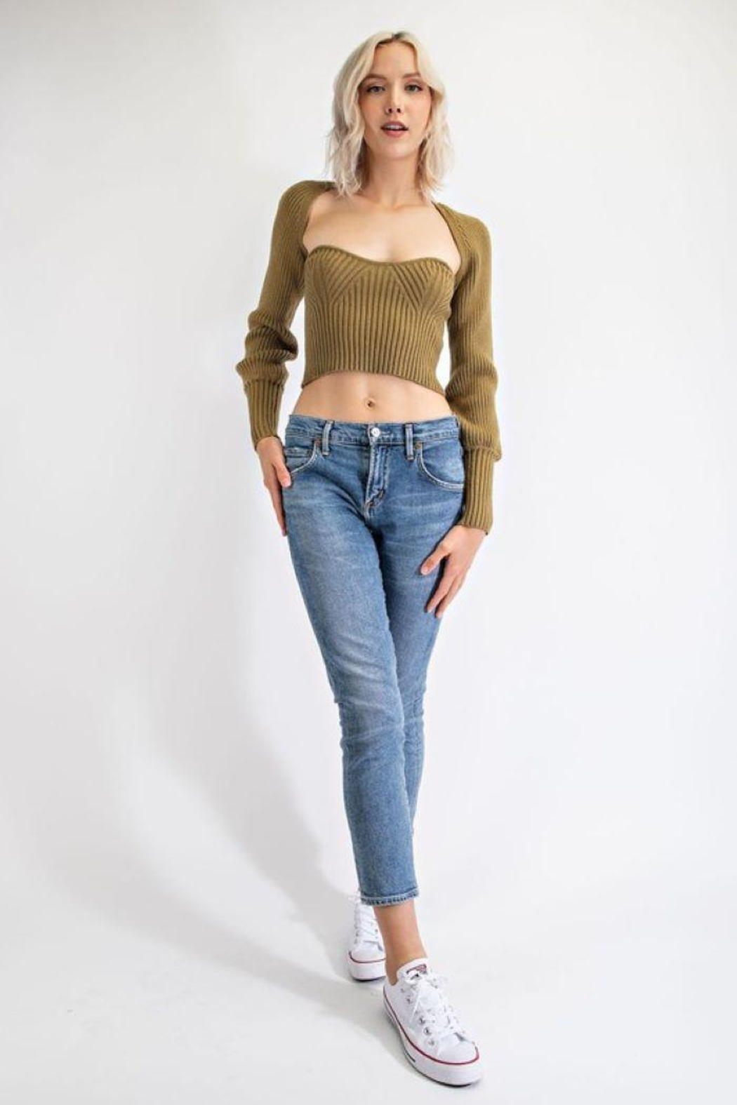 EDIT BY NINE Strapless Tube Top With Bolero Pullover - Front Full Image