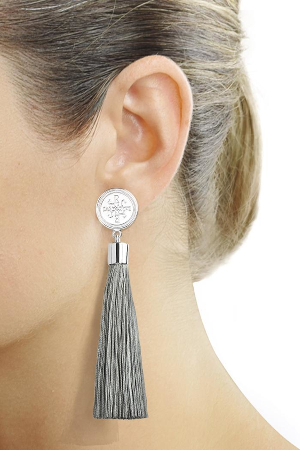 Eduardo Sanchez Tassel Silver Earrings - Front Cropped Image