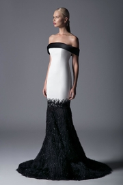 Edward Arsouni Off-Shoulder Feathered Gown - Product Mini Image