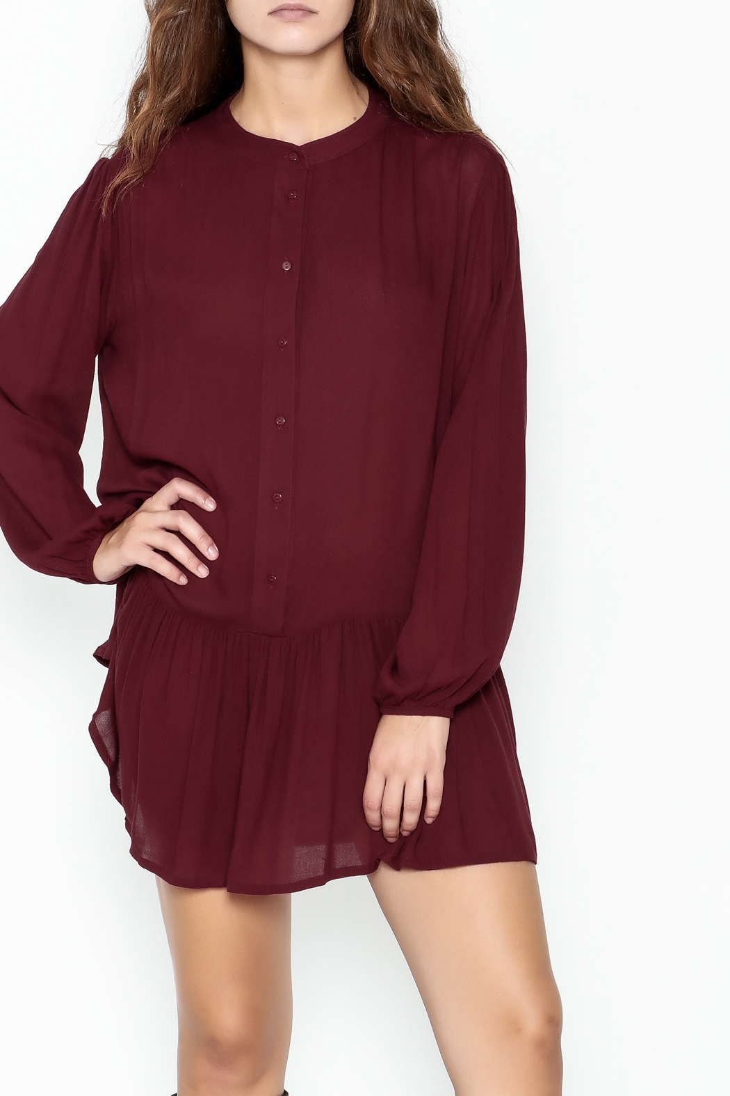 ee:some Button Down Tunic Dress - Front Cropped Image