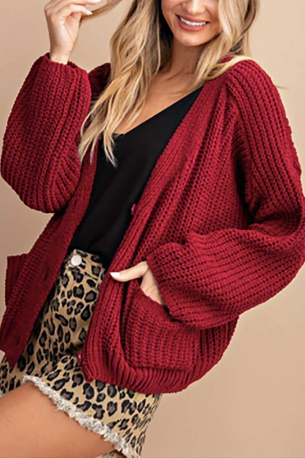 ee:some Chenille Chunky Cardigan - Main Image