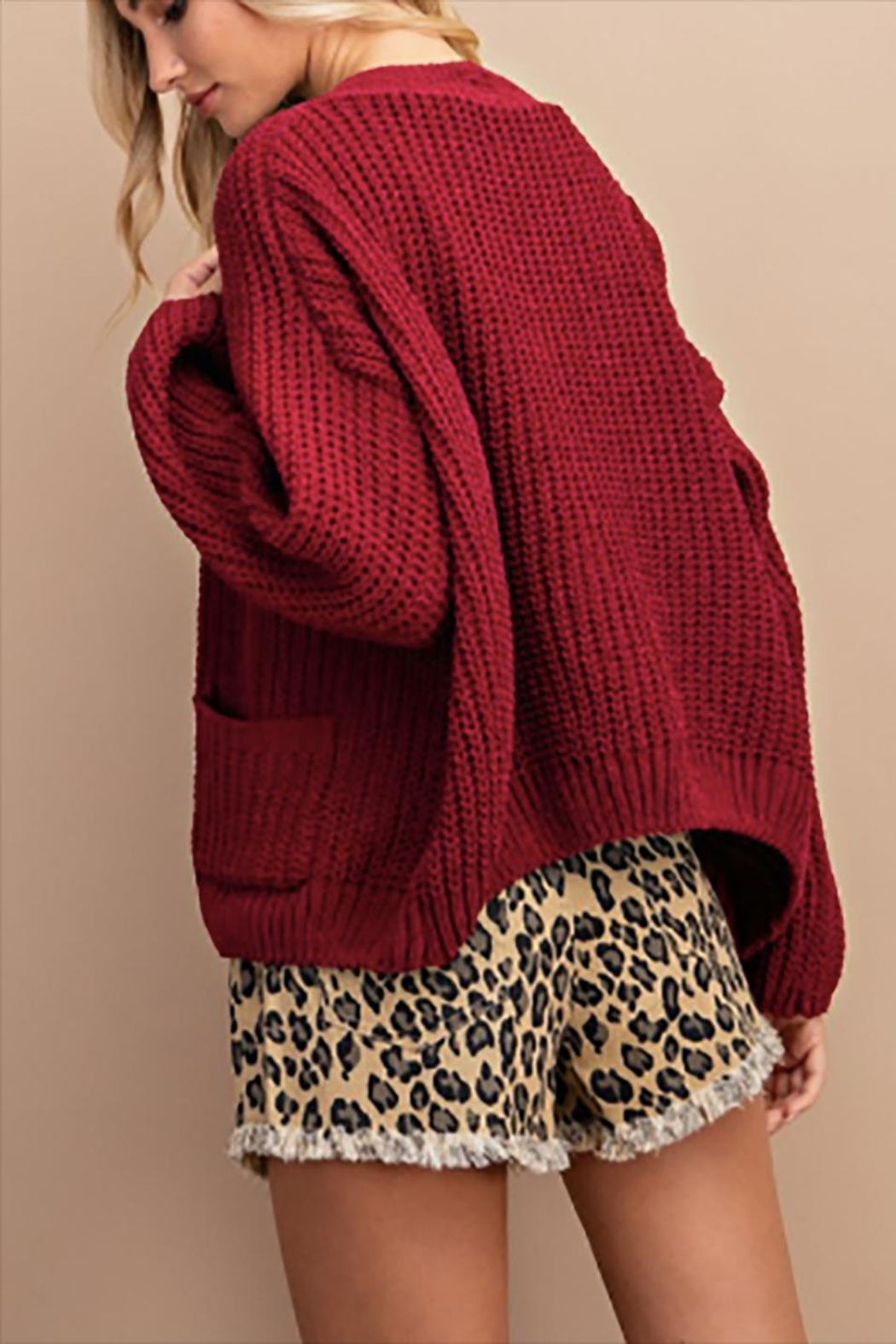 ee:some Chenille Chunky Cardigan - Front Full Image