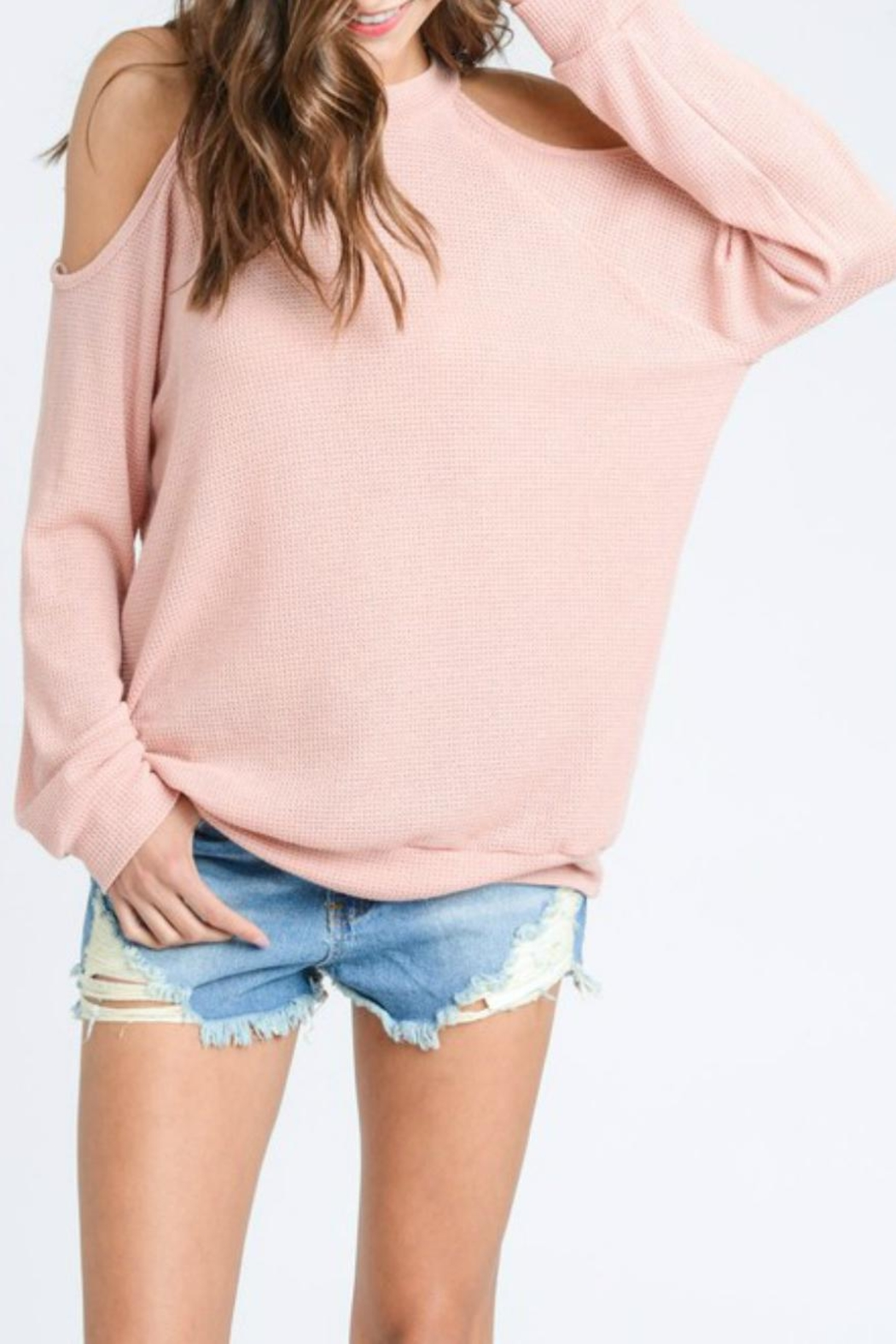 ee:some Cold-Shoulder Waffle Pullover - Main Image