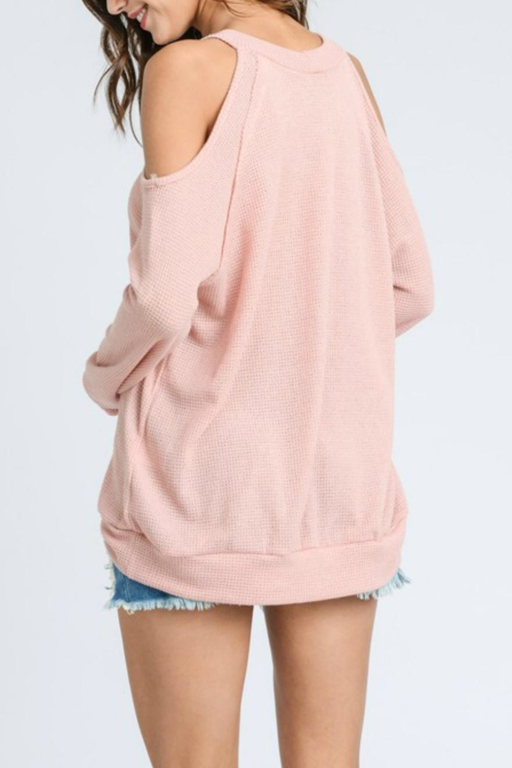 ee:some Cold-Shoulder Waffle Pullover - Side Cropped Image