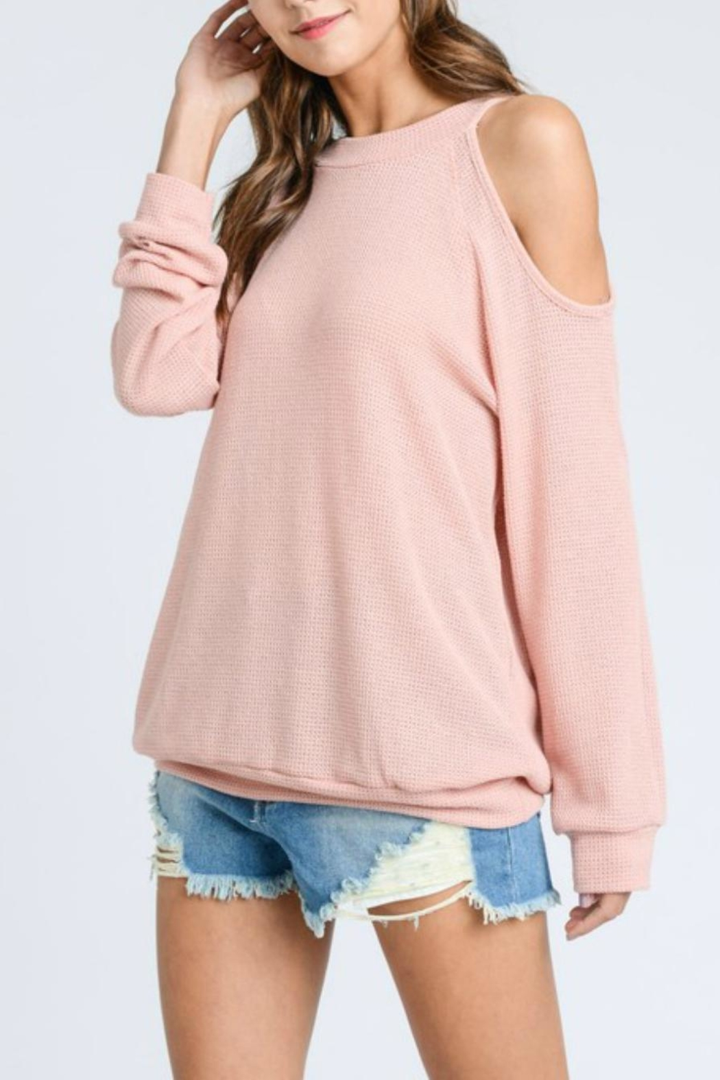 ee:some Cold-Shoulder Waffle Pullover - Front Full Image