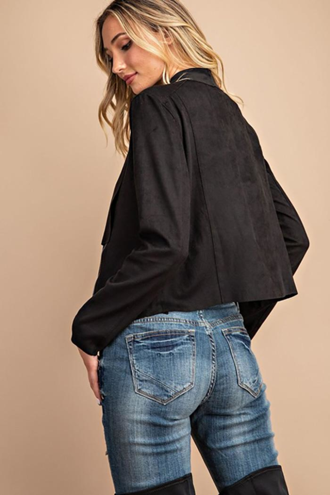 ee:some Drape Front Suede-Jacket - Back Cropped Image