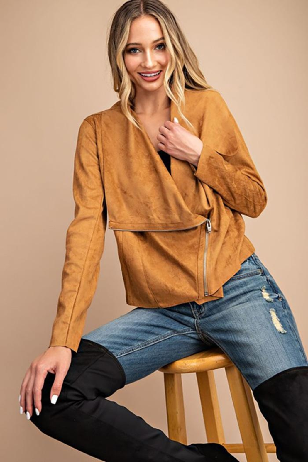 ee:some Drape Front Suede-Jacket - Front Cropped Image