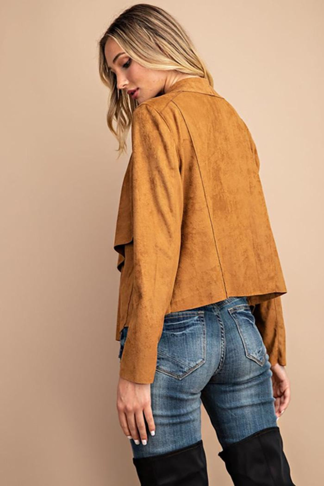 ee:some Drape Front Suede-Jacket - Front Full Image