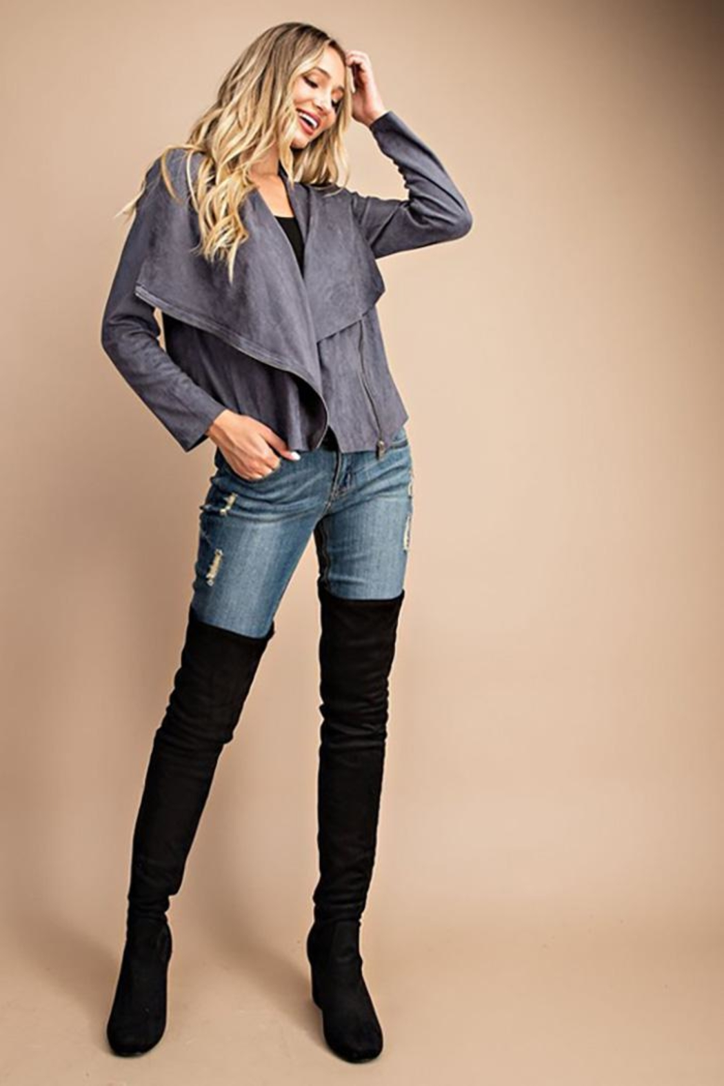 ee:some Drape Front Suede-Jacket - Side Cropped Image