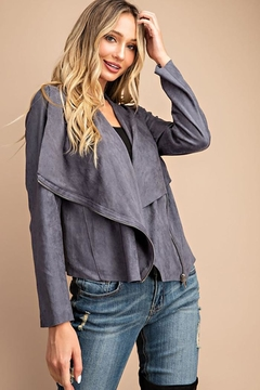 ee:some Drape Front Suede-Jacket - Product List Image