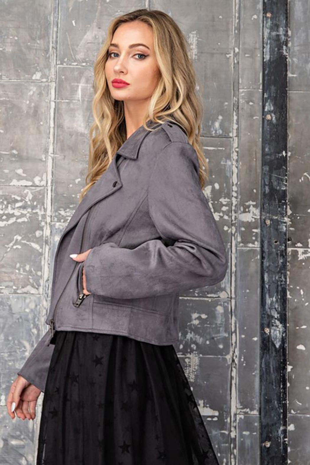 ee:some Faux Suede Moto Jacket - Back Cropped Image