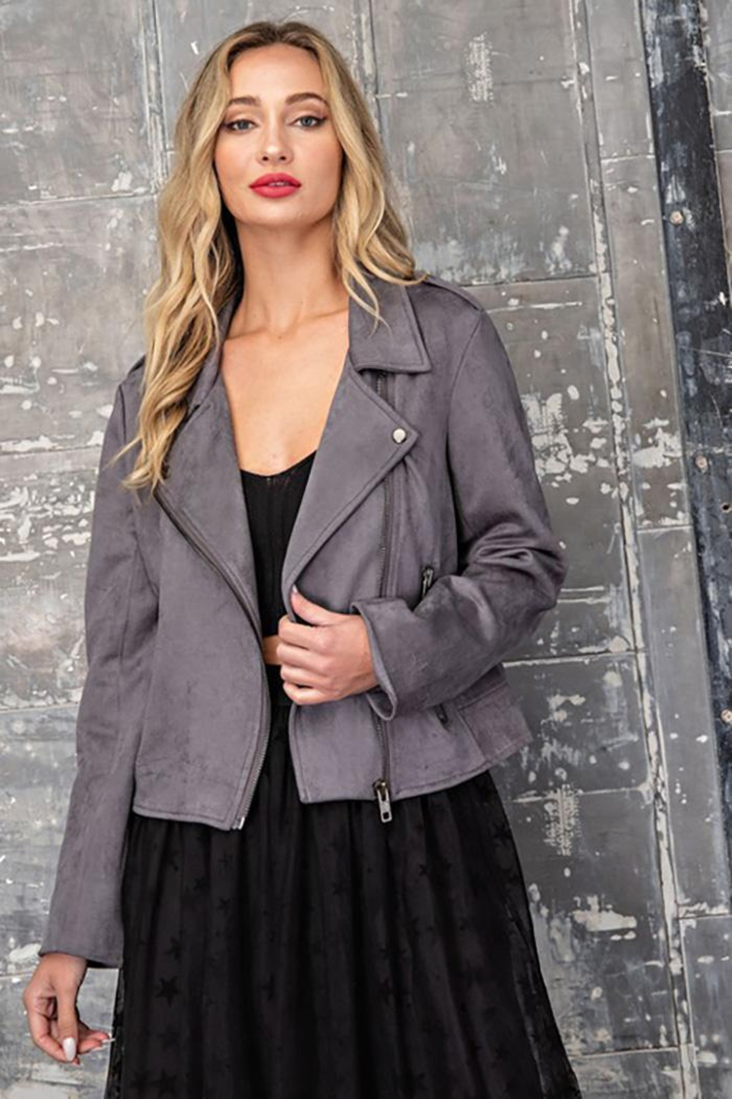 ee:some Faux Suede Moto Jacket - Side Cropped Image