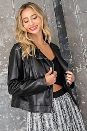 ee:some Fringe Faux Leather Moto Jacket - Product Mini Image