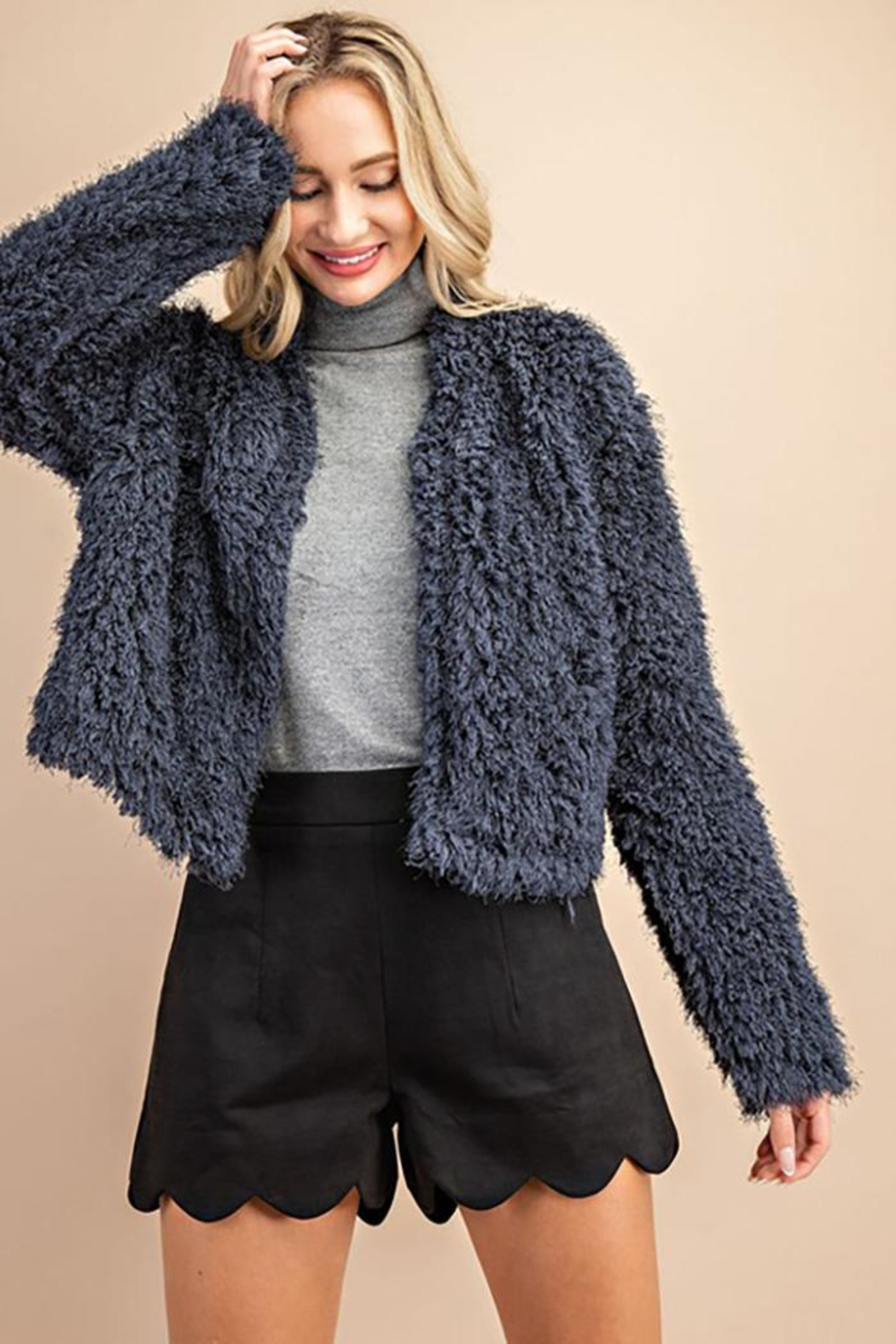 ee:some Fuzzy Open Front Coat - Side Cropped Image