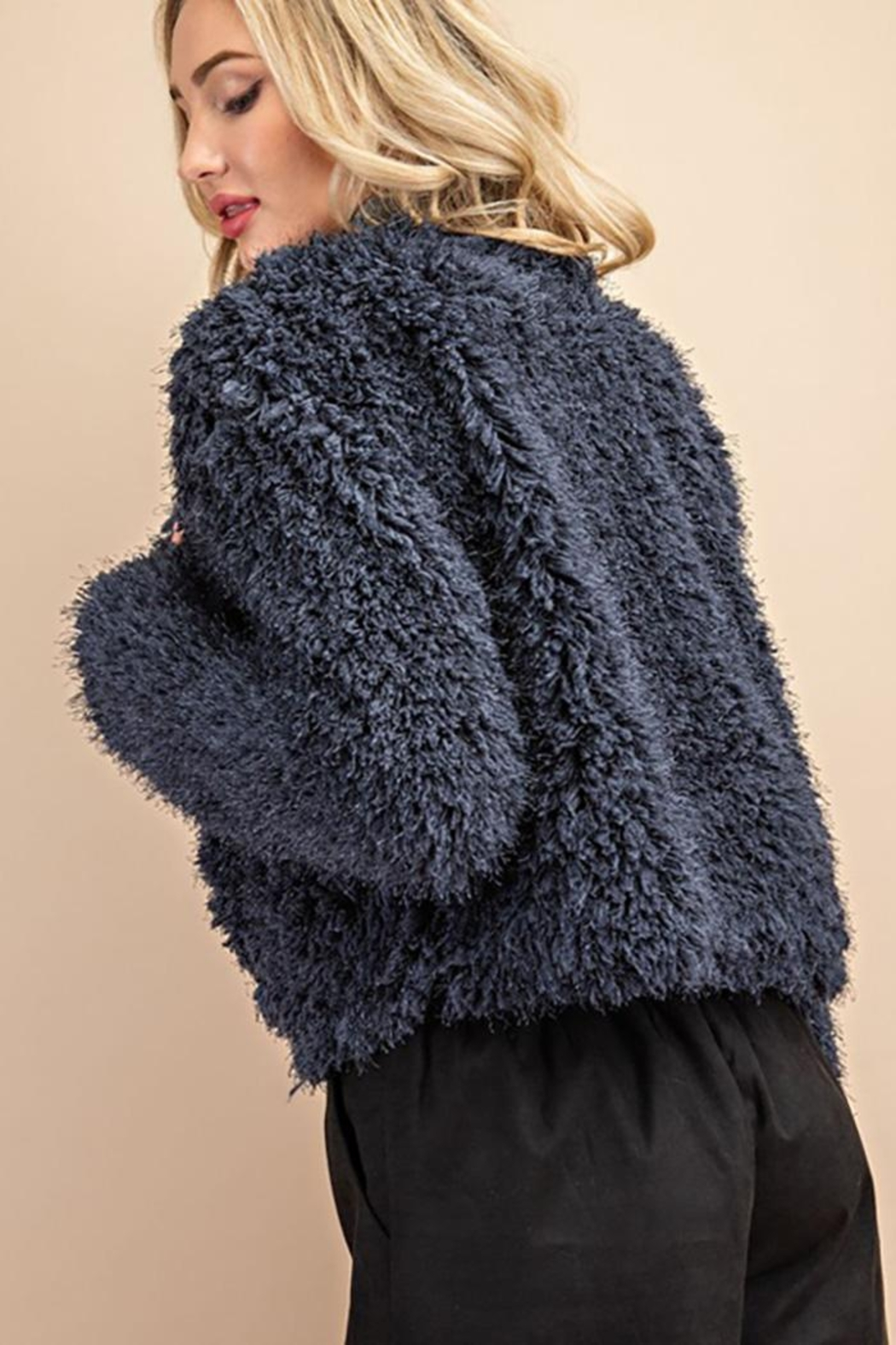 ee:some Fuzzy Open Front Coat - Back Cropped Image