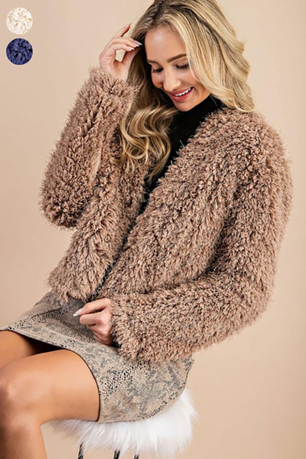 ee:some Fuzzy Open Front Coat - Front Cropped Image