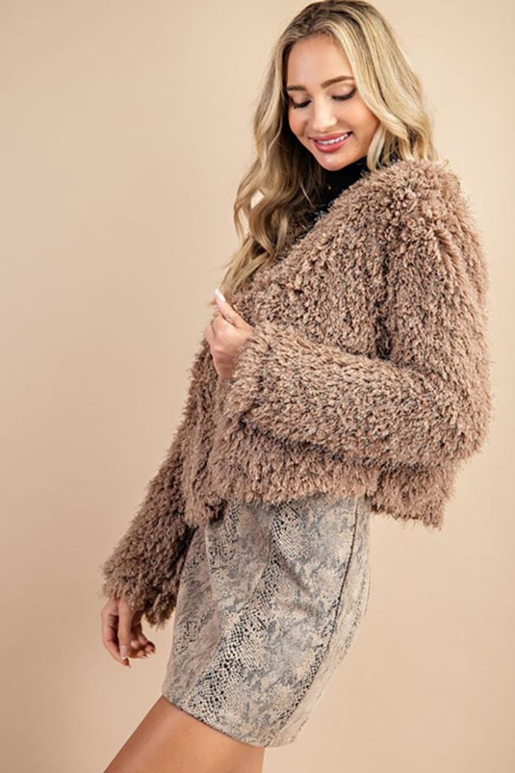 ee:some Fuzzy Open Front Coat - Front Full Image