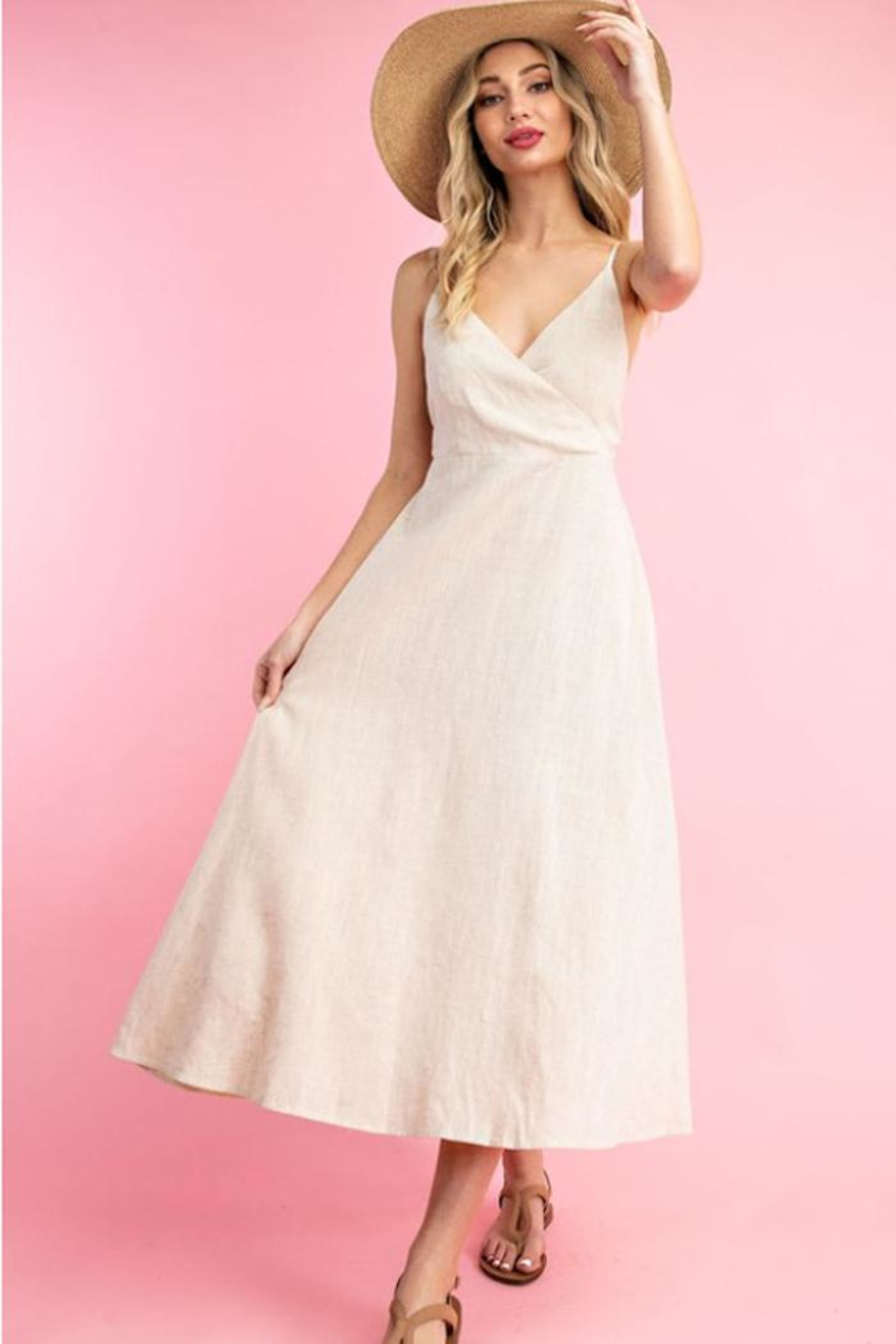 ee:some Linen A-Line Dress - Front Full Image
