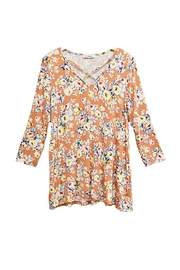 ee:some Peach Floral Top - Front full body