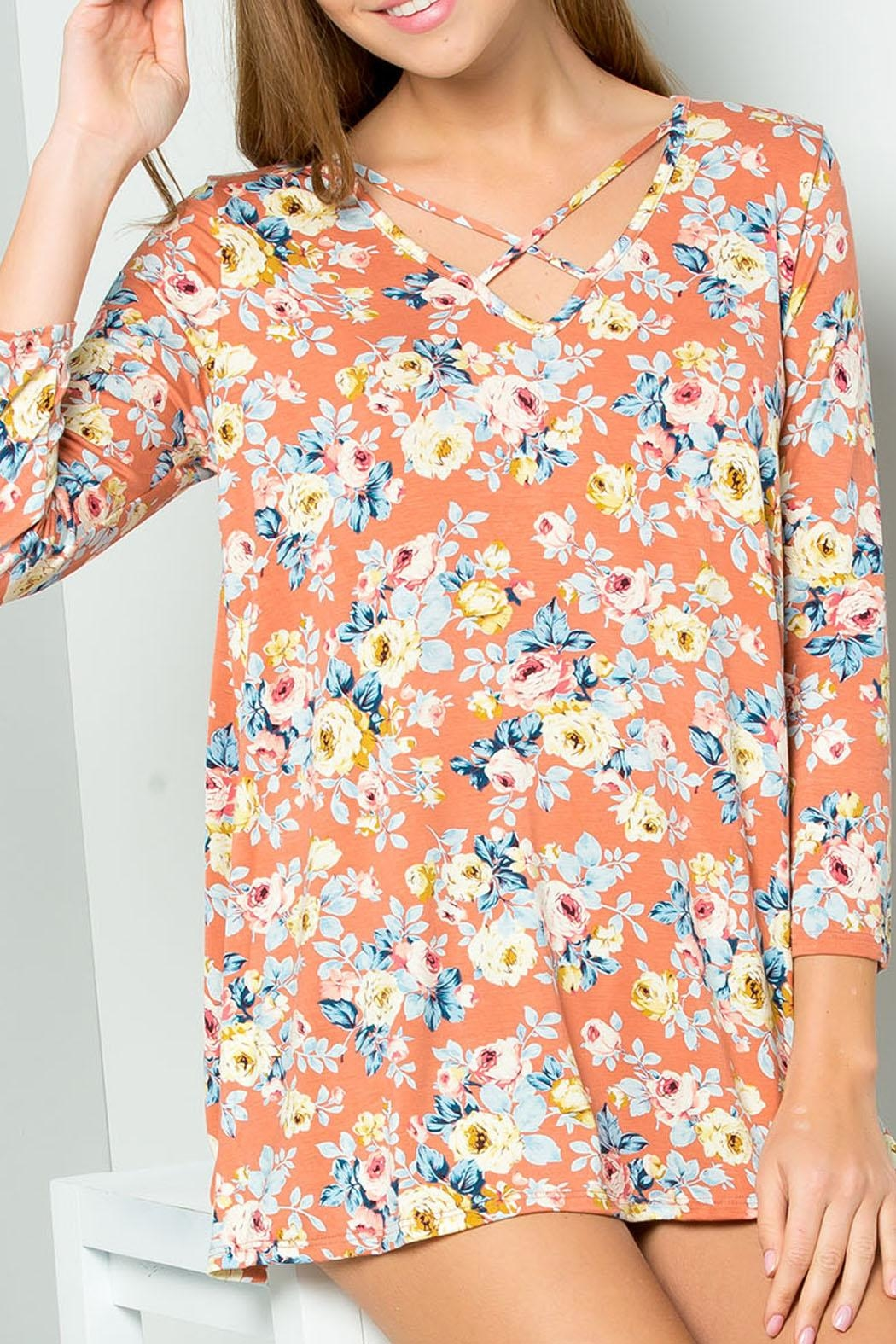 ee:some Peach Floral Top - Main Image