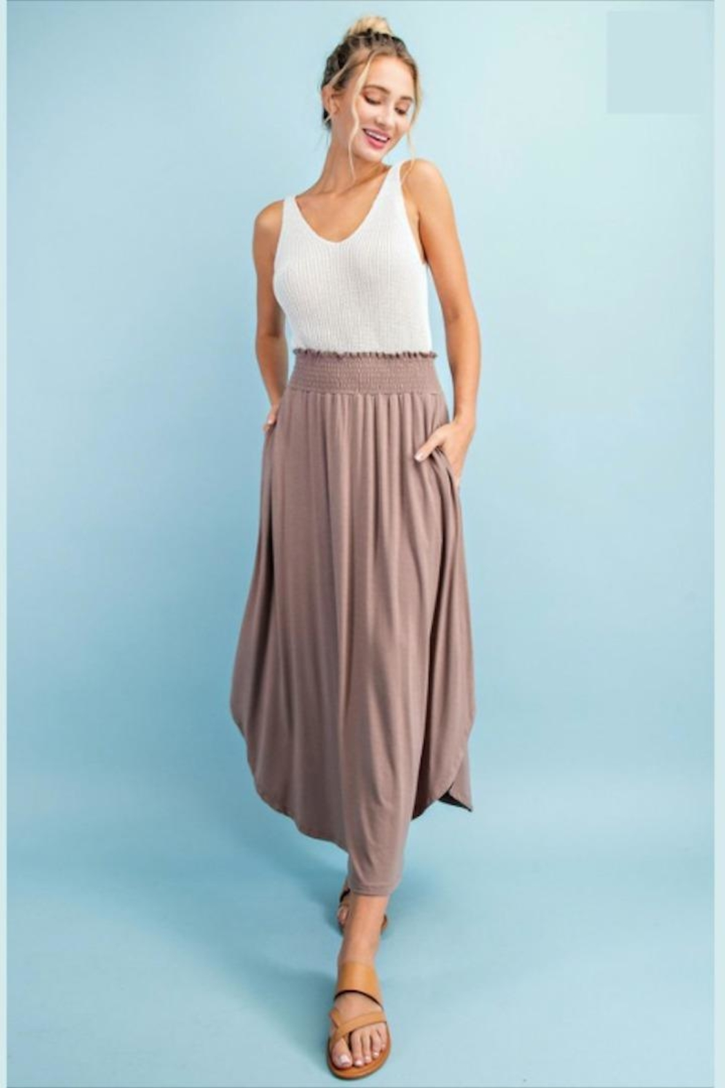 ee:some Smocked Maxi Skirt - Front Full Image