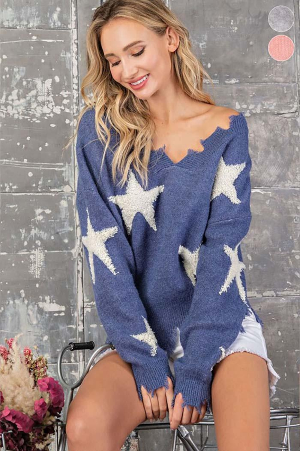 ee:some Star Print Distressed Sweater - Side Cropped Image
