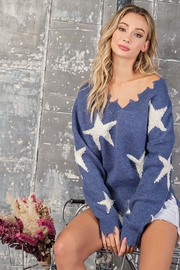 ee:some Star Print Distressed Sweater - Back cropped