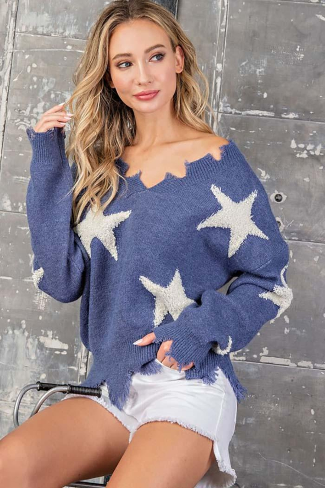 ee:some Star Print Distressed Sweater - Main Image